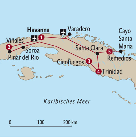 Kuba Karte Rundreise.Kuba Rundreise Rundreisen Kuba